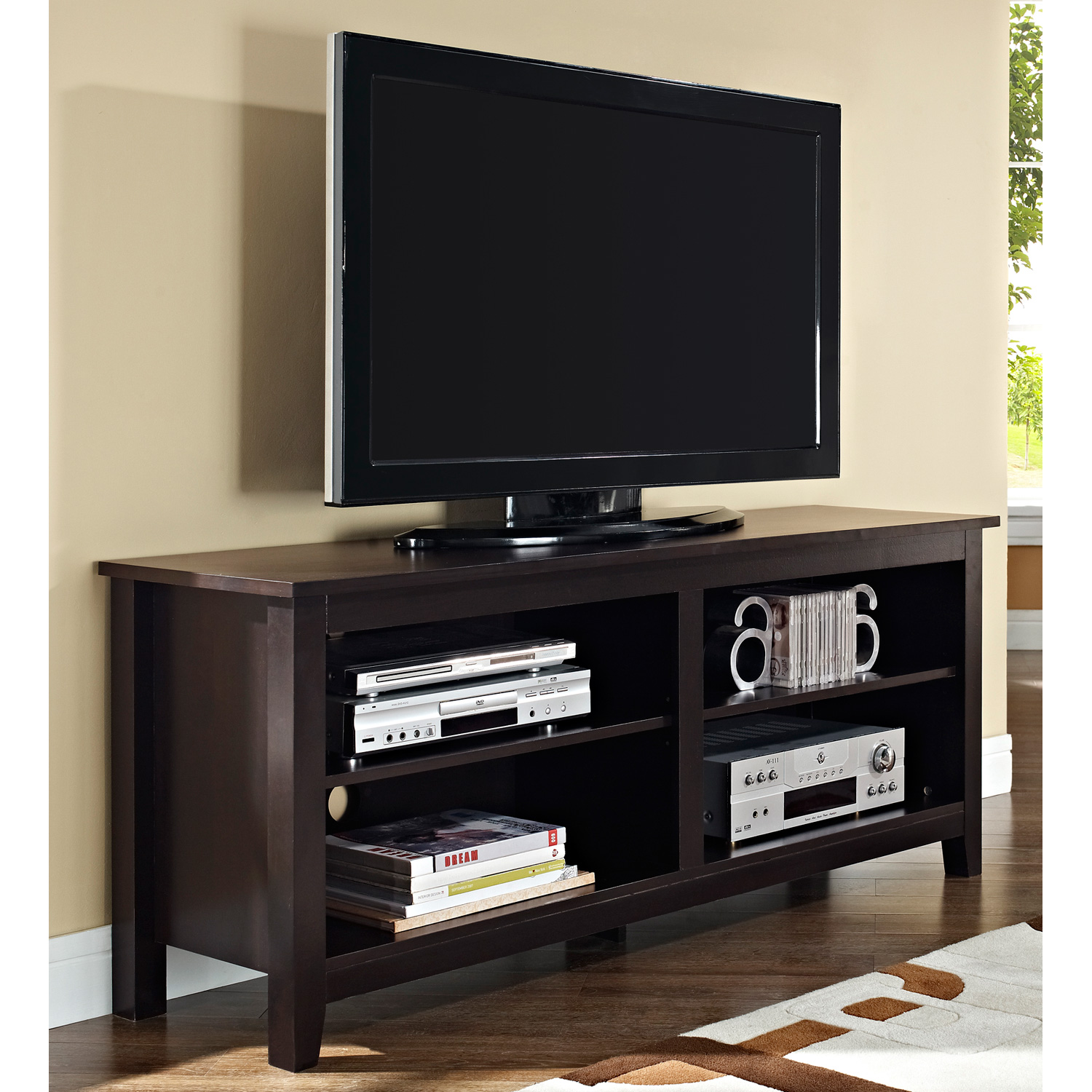 Contemporary 58 Inch Wood TV Console - Espresso - WAL-W58CSPES