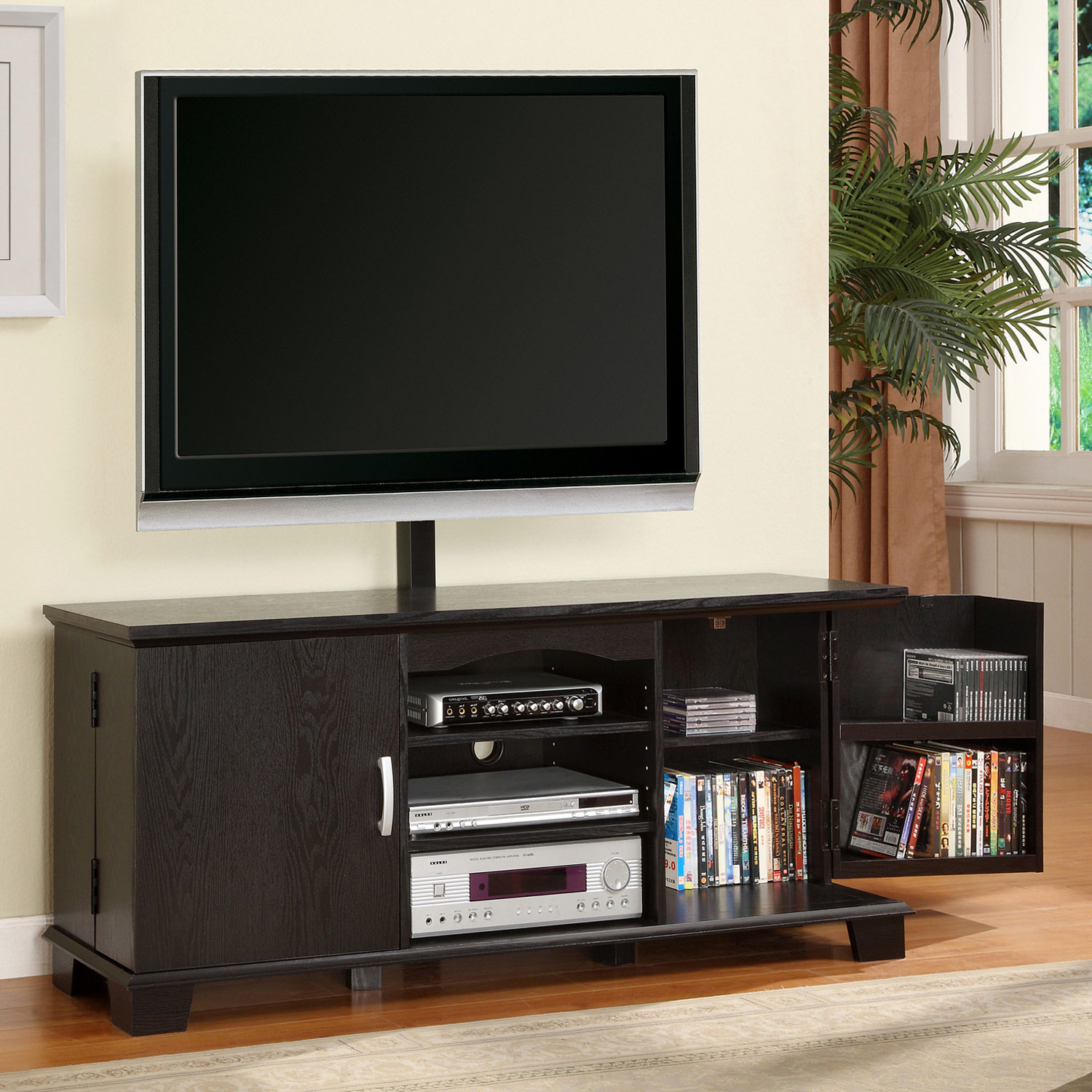 60 39 39 wood tv console with mount and storage black dcg for Tv console with storage