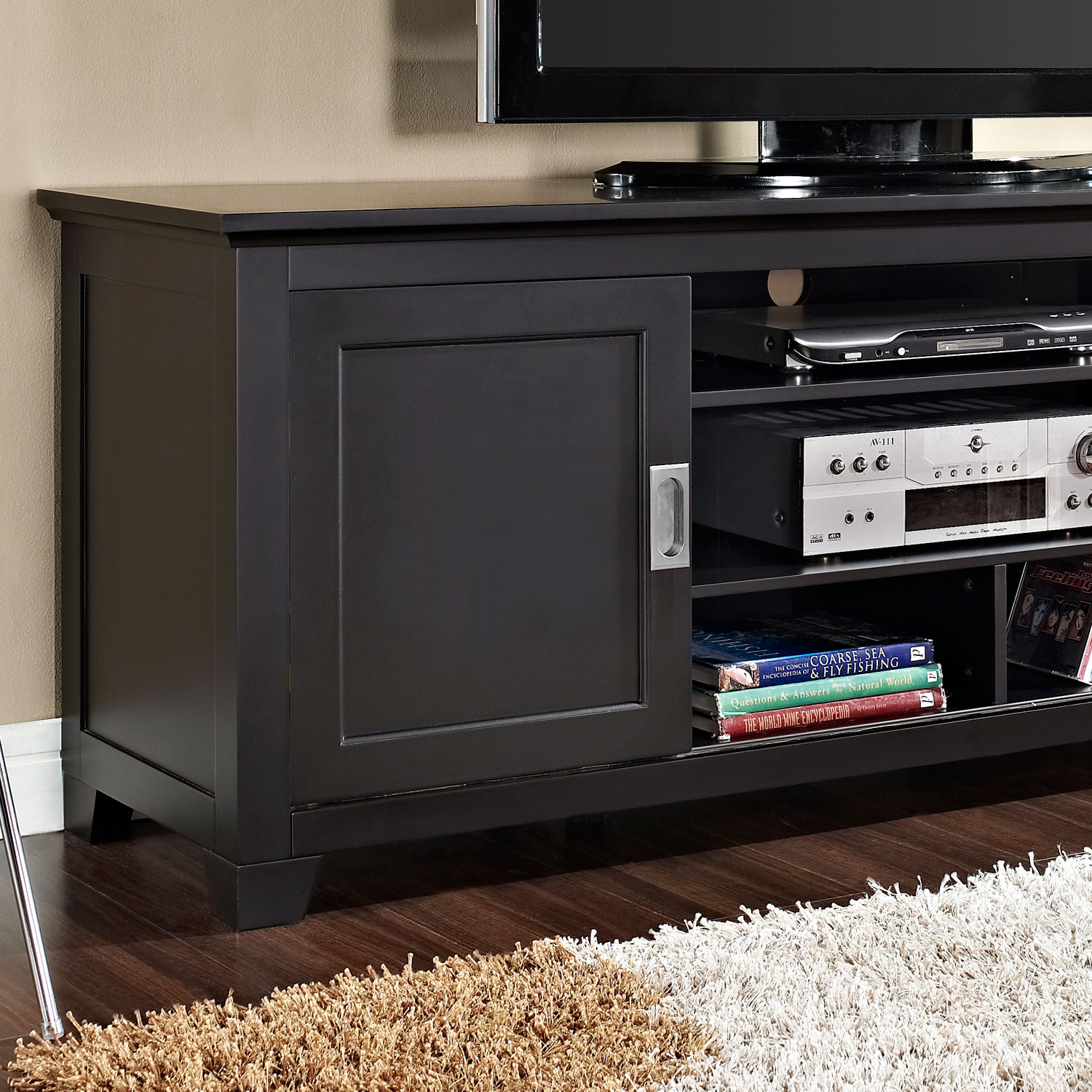 70 inch wood tv console with sliding doors black finish for 70 inch console table