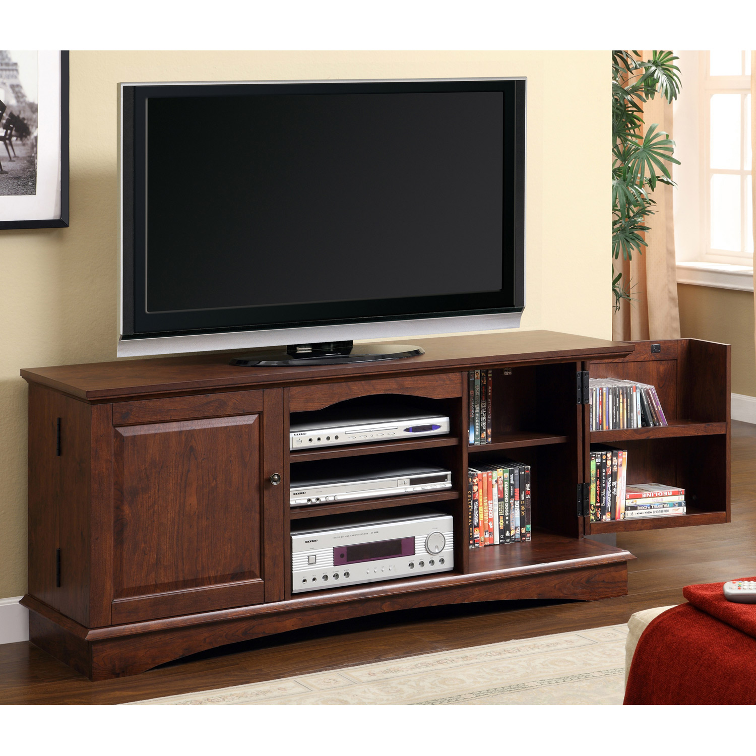 60 39 39 media storage wood tv console traditional brown for Tv console with storage