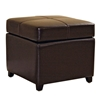 Breelan Leather Storage Ottoman in Dark Brown - WI-0380-J001