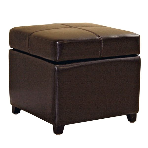 Breelan Leather Storage Ottoman in Dark Brown