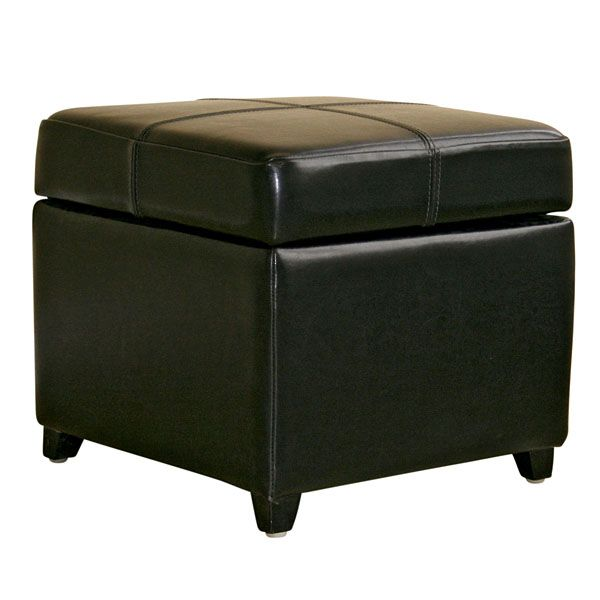 Breelan Leather Storage Ottoman in Black