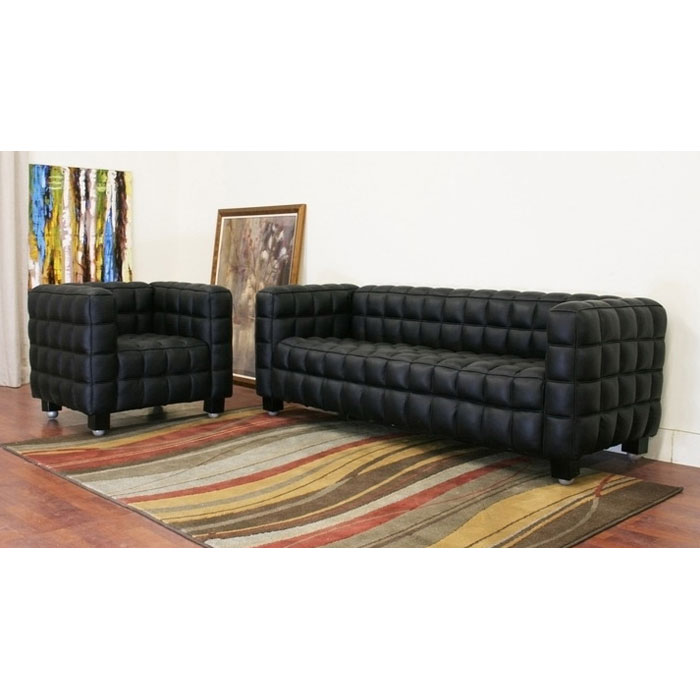 Arriga Black Leather Sofa and Chair Set - WI-0717-2PC