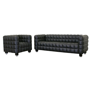 Arriga Black Leather Sofa and Chair Set