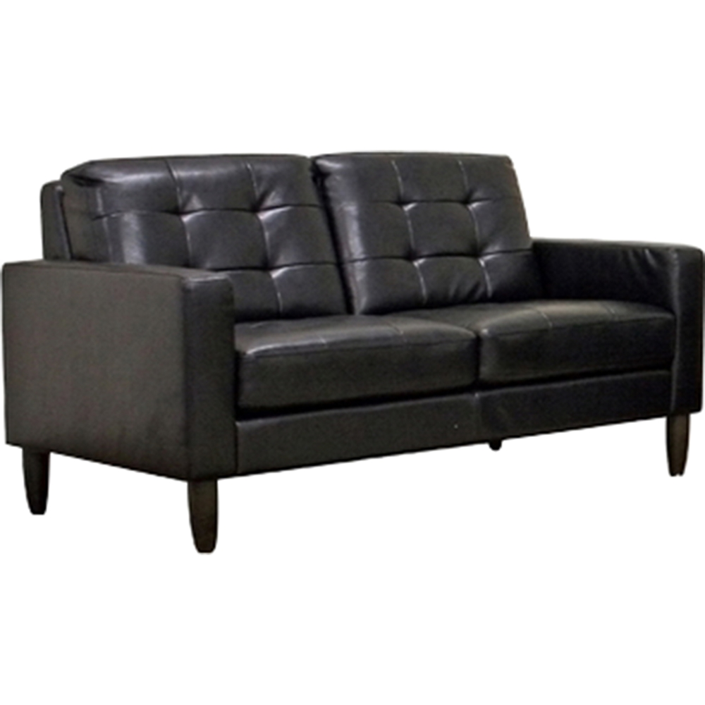 Caledonia 2 piece leather sofa set tufted black dcg for 2 piece furniture set