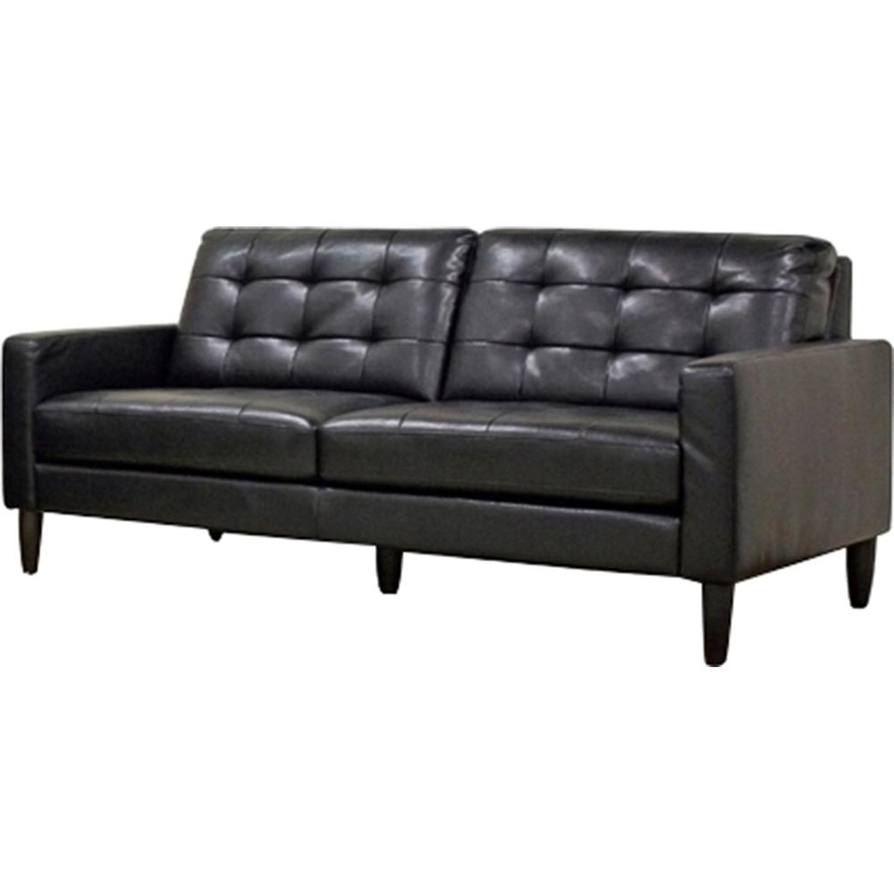 Caledonia 2 piece leather sofa set tufted black dcg for 2 piece sofa set