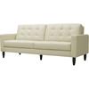 Caledonia Leather Modern Sofa - Tufted, Cream