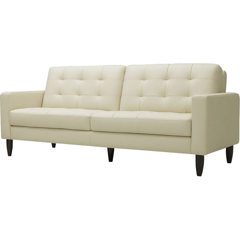 Caledonia 2 piece leather sofa set tufted cream dcg for 2 piece furniture set