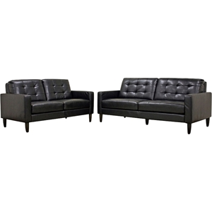 Caledonia 2-Piece Leather Sofa Set - Tufted, Black