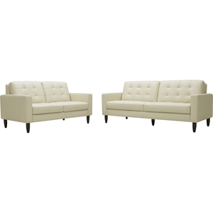 Caledonia 2-Piece Leather Sofa Set - Tufted, Cream