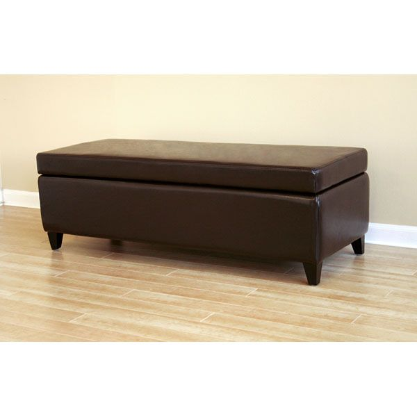 Hathaway Leather Storage Ottoman in Dark Brown - WI-125-J001