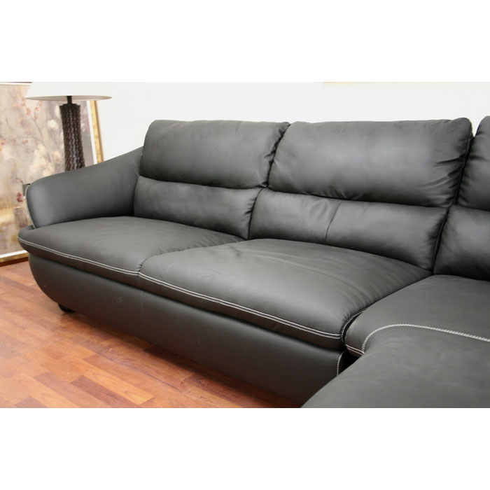 Bailey Black Leather Sectional with Chaise - WI-1252-M9812