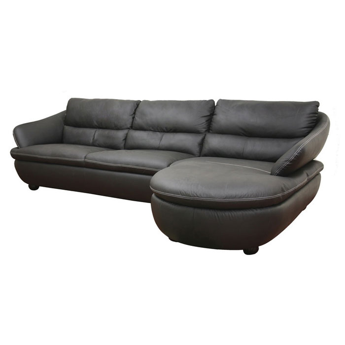 Bailey black leather sectional with chaise dcg stores for Black sectional with chaise