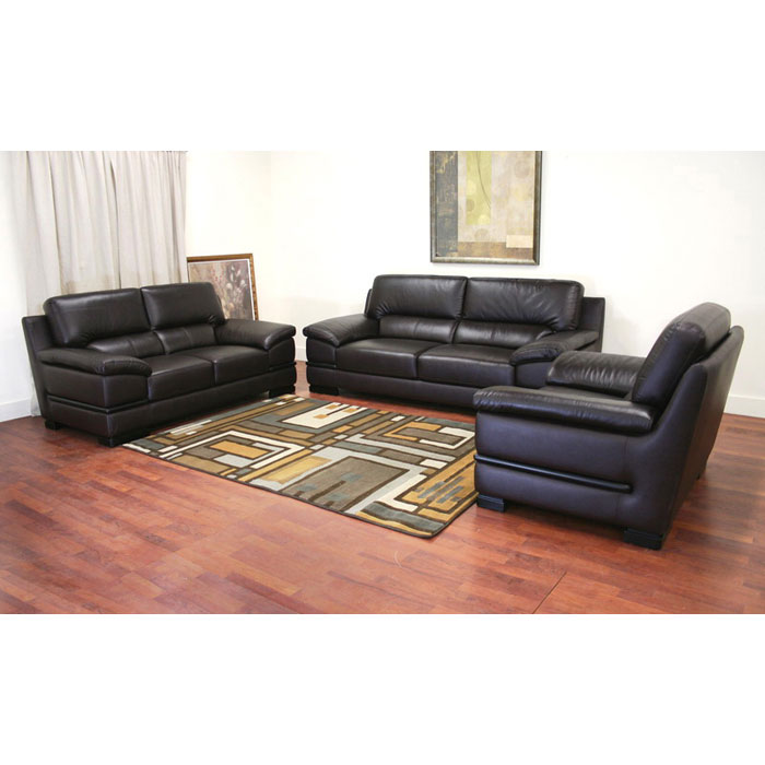 Riley dark brown leather 3 piece sofa set dcg stores for Eurodesign brown leather 5 piece sectional sofa set
