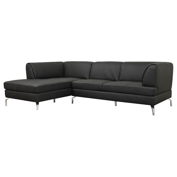 Godfrey black leather sectional with chaise dcg stores for Black leather chaise sale