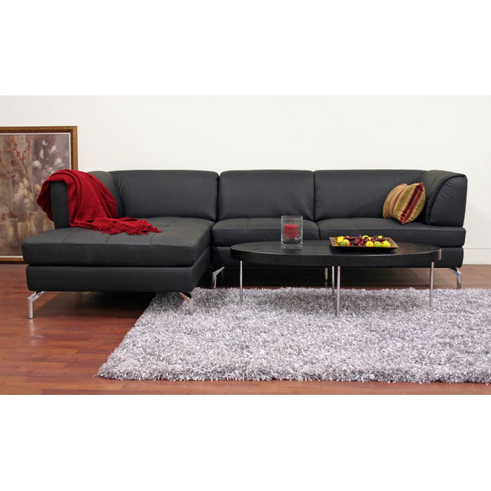 Godfrey Black Leather Sectional with Chaise - WI-1328-M9812