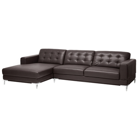 Babbitt sectional sofa brown leather left facing chaise for Brown leather sofa with chaise