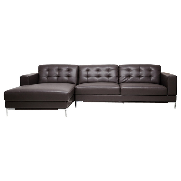 Babbitt sectional sofa brown leather left facing chaise for Brown leather sectional with chaise