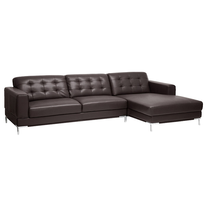 Babbitt sectional sofa brown leather right facing for Brown leather sectional with chaise