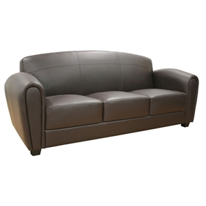 Sally Brown Leather Modern Sofa