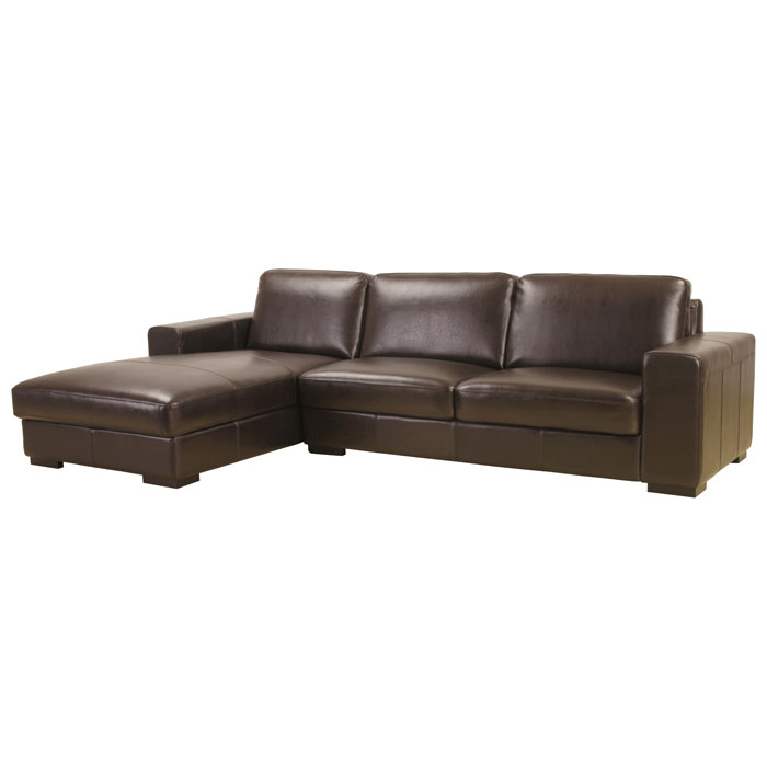 Susanna dark brown leather large sectional with chaise for Brown leather sectional with chaise