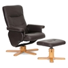 Oliver Reclining Chair & Ottoman - Wood Base, Dark Brown - WI-3025-E