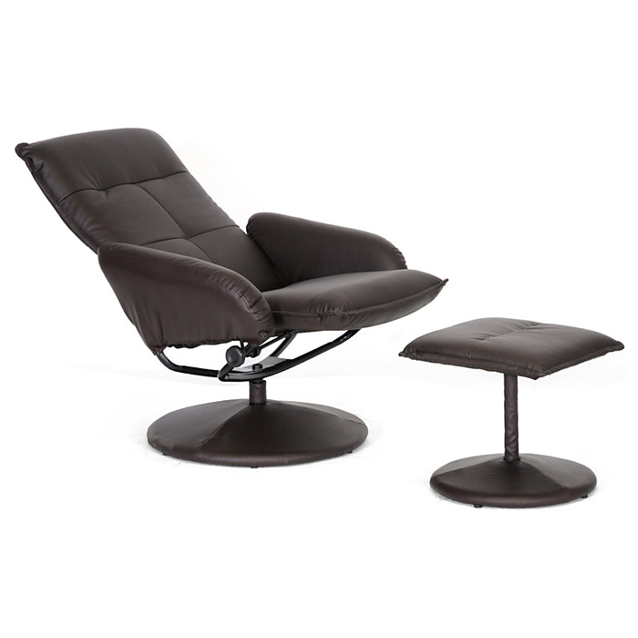 Cooper Reclining Chair & Ottoman - Disc Base, Dark Brown - WI-3028