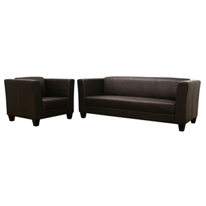 Boyle Dark Brown Sofa and Chair Set