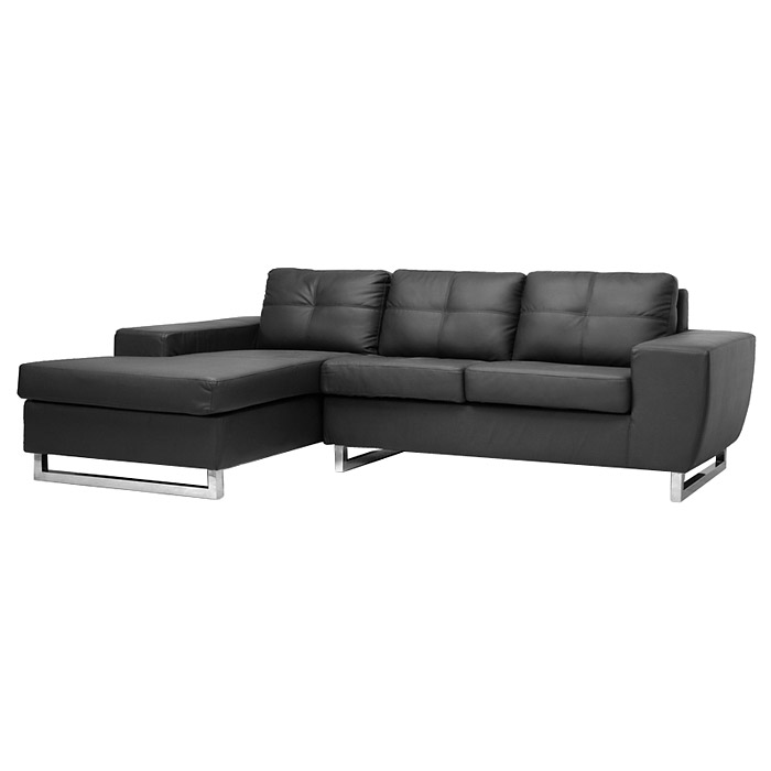 Corbin Chaise Sectional Sofa - Tufted, Chrome Legs, Black - WI-308-SECTIONAL-BLACK-LFC