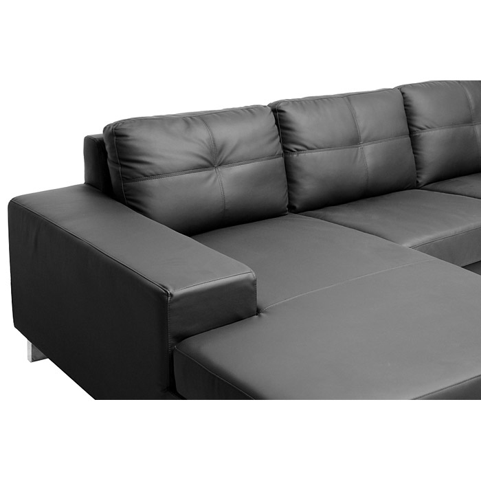 Corbin chaise sectional sofa tufted chrome legs black for Black tufted chaise lounge