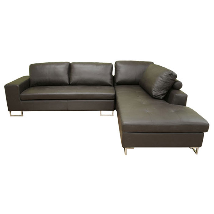 Jethro medium brown leather sectional with chaise dcg stores for Brown sectionals with chaise
