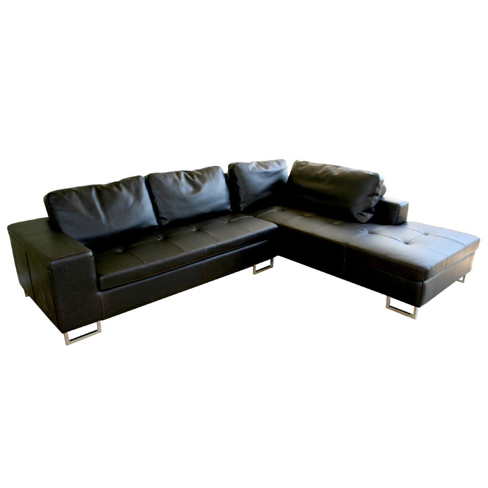 Vinson dark brown leather sectional with chaise dcg stores for Brown sectionals with chaise