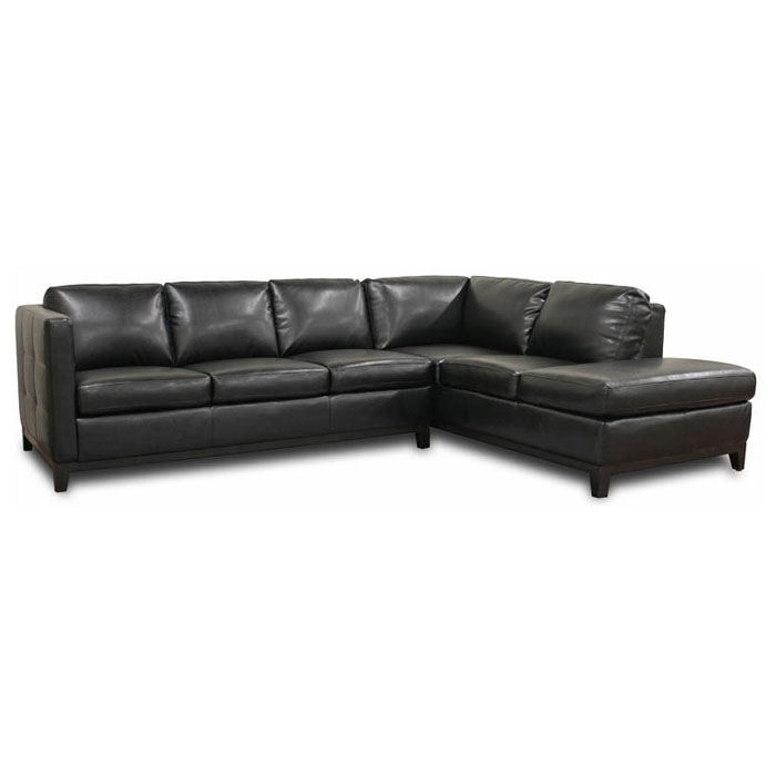 rohn black leather sectional with chaise dcg stores
