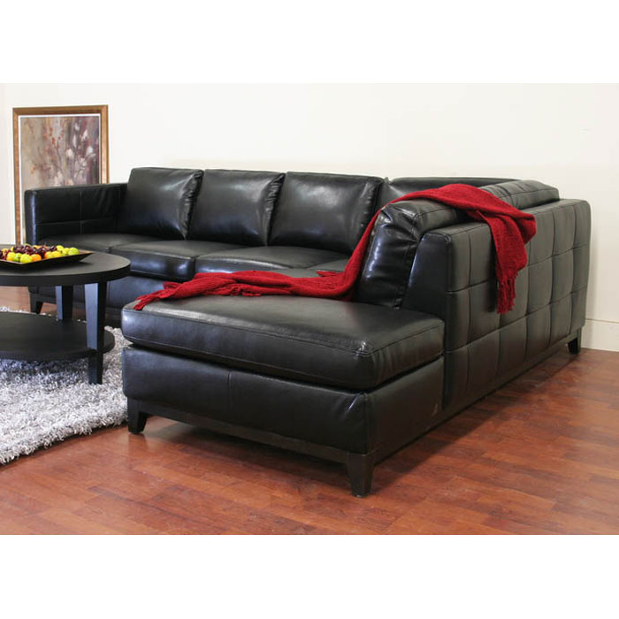 Rohn black leather sectional with chaise dcg stores for Black leather chaise sale