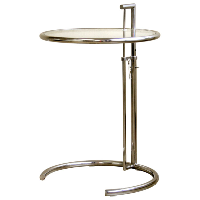 Eileen Gray Round Glass Top End Table DCG Stores - Eileen gray end table