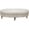 Brighton Script Print Ottoman - Button Tufted, Beige - WI-503-FRENCH-OTTO