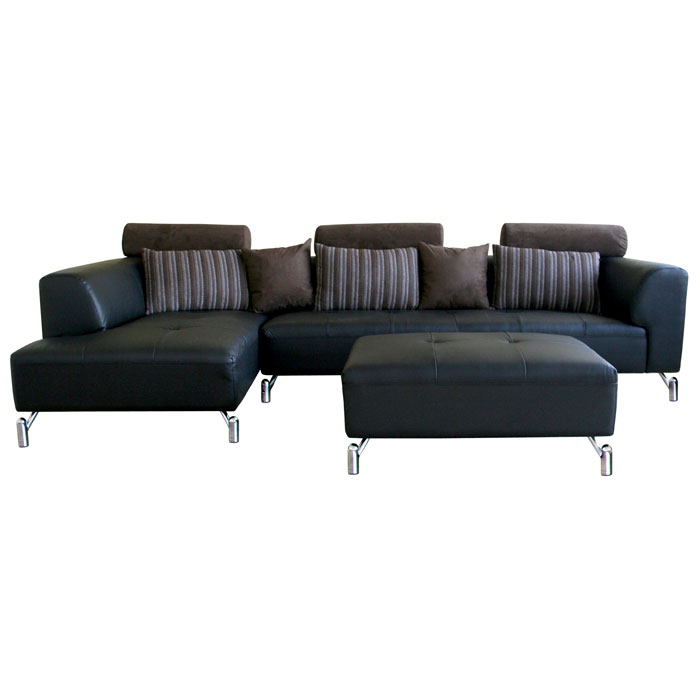 Everett leather sectional with chaise and ottoman dcg stores for Sectional couches everett wa