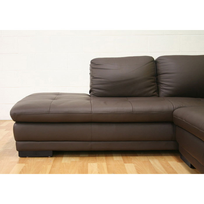 Diana brown leather sectional with chaise dcg stores for Brown leather chaise