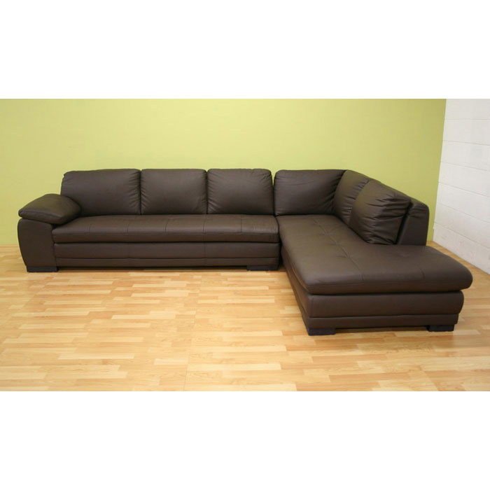 Diana brown leather sectional with chaise dcg stores for Brown leather sectional chaise