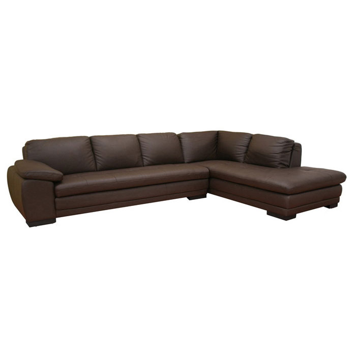 Diana brown leather sectional with chaise dcg stores for Brown sectionals with chaise