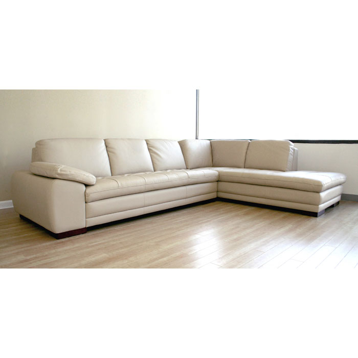 Diana beige leather sofa with chaise dcg stores for Beige sectional with chaise