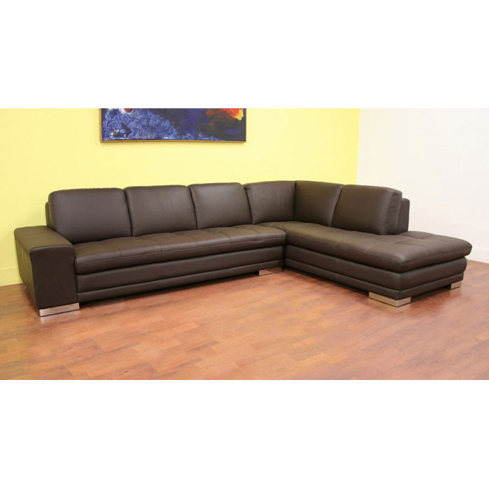 Callidora dark brown leather sectional with chaise dcg for Brown leather sectional chaise