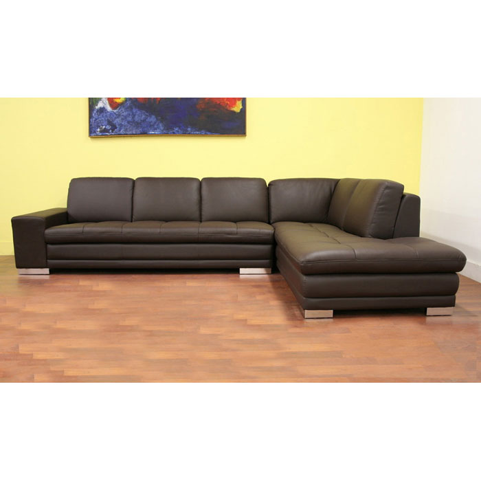 Callidora dark brown leather sectional with chaise dcg for Brown leather chaise sofa