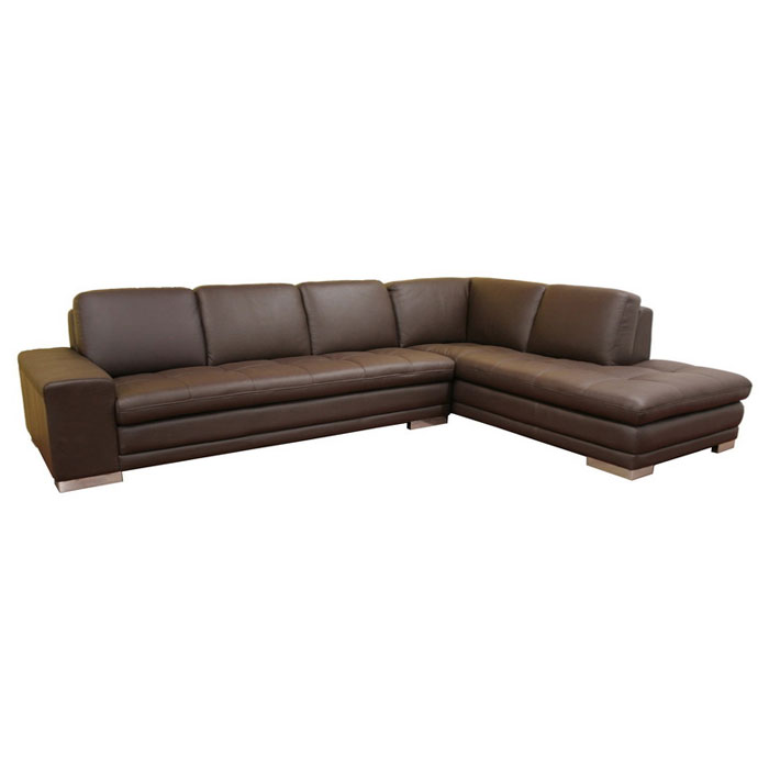 Callidora dark brown leather sectional with chaise dcg for Brown leather chaise