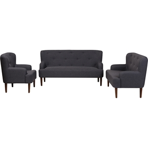 Toni 3-Piece Sofa Set - Button Tufted, Dark Gray