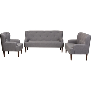 Toni 3-Piece Sofa Set - Button Tufted, Light Gray