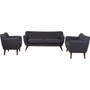 Harper 3-Piece Upholstered Sofa Set - Button Tufted, Dark Gray