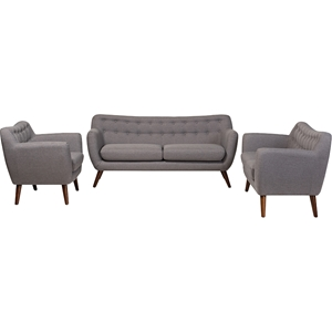 Harper 3-Piece Upholstered Sofa Set - Button Tufted, Light Gray