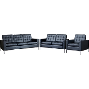 Connoisseur 3-Piece Living Room Sofa Set - Black